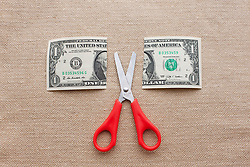 One dollar bill cut in half with scissors (Credit Image: © Image Source/Ian Nolan/Image Source/ZUMAPRESS.com)