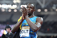 Usain Bolt of Jamaica winning the 100m during the Sainsbury's Anniversary Games at the Queen Elizabeth II Olympic Park, London, United Kingdom on 24 July 2015. Photo by Phil Duncan.