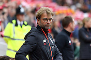 Liverpool Manager Jurgen Klopp looks on prior to kick off. Premier League match, Liverpool v Hull City at the Anfield stadium in Liverpool, Merseyside on Saturday 24th September 2016.<br /> pic by Chris Stading, Andrew Orchard sports photography.