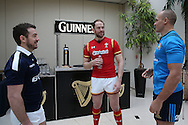 Alun Wyn Jones, the Wales captain © talking to Greig Laidlaw, the Scotland captain (l) and Sergio Parisse, the Italy captain ahead of the RBS Six Nations 2017 media launch at the Hurlingham Club, Ranelagh Gardens in London on Wednesday 25th January 2017.<br /> pic by John Patrick Fletcher, Andrew Orchard sports photography.