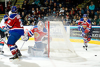 KELOWNA, CANADA - FEBRUARY 15:  Laurent Brossoit #31 of the Edmonton OIl Kings defends the net against the Kelowna Rockets on February 15, 2012 at Prospera Place in Kelowna, British Columbia, Canada (Photo by Marissa Baecker/Getty Images) *** Local Caption *** Laurent Brossoit;
