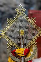 Elaborate latticework on Ethiopian cross with staff, Cave Monastery Neakuto Leab, near Lalibela, Ethiopia.
