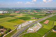 Nederland, Gelderland, Gemeente Zaltbommel, 27-05-2013; autosnelweg A2 met verzorgingsplaats De Lucht (de oudste van Nederland).<br /> Motorway A2 with service station 'The AIr'.<br /> luchtfoto (toeslag op standard tarieven)<br /> aerial photo (additional fee required)<br /> copyright foto/photo Siebe Swart