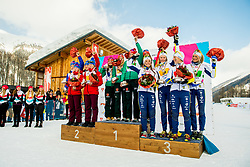 February 3, 2018 - Goms, SWITZERLAND - 180203 Johanna HagstrÅ¡m, Alicia Persson, Tua Dahlgren and Frida Karlsson of Sweden receive with the bronze medals on the podium after the women's 4x3,3 km relay during the FIS Nordic Junior World Ski Championships on February 3, 2018 in Obergoms..Photo: Vegard Wivestad GrÂ¿tt / BILDBYRN / kod VG / 170098 (Credit Image: © Vegard Wivestad Gr¯Tt/Bildbyran via ZUMA Press)