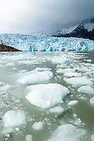Small icebergs float in front of the Glacier Grey in Torres del Paine National Park, Chile.