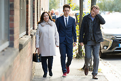 © Licensed to London News Pictures. 28/09/2018. London, UK.  Nadim Ednan-Laperouse (R), his son Alex (C) and wife Tanya (L) arrive at West London Coroner's Court this morning for the inquest into the death of Natasha Ednan-Laperouse. Natasha Ednan-Laperouse, aged 15, died on a British Airways flight to from London to Niece, when she fell ill after eating a Pret a Manger sandwich believed to contain sesame.  Photo credit: Vickie Flores/LNP