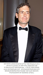 MR MARK JONES Director of the V&A Museum at a dinner in London on 30th May 2002.PAN 106