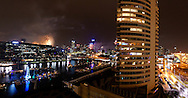 New Years Eve fire works, Melbourne, Australia from Dockland apartment.<br /> <br /> Image protected by copyright.  For usage rights  Contact EFFECTIVE WORKING IMAGE.via our contact page at:<br /> www.photography4business.com