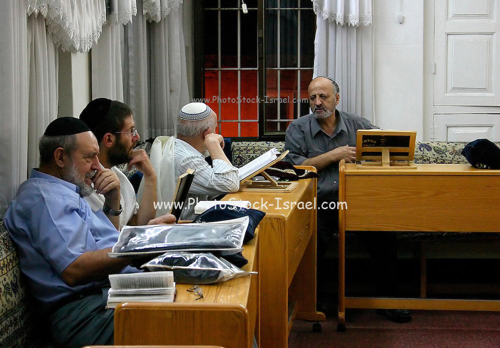 Israel, Jerusalem, Nachlaot, Selihot, forgiveness, the nightly prayers before Rosh Hashana, Jews praying Inside of a synagogue,