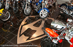 The iconic A logo in the floor of the showroom at the new Arlen Ness store. Dublin, CA. 2004. Photograph ©2004 Michael Lichter