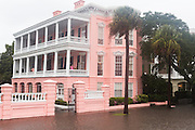 The historic Palmer House Inn is surrounded by floodwater along the Battery area as Hurricane Joaquin brings heavy rain, flooding and strong winds as it passes offshore October 3, 2015 in Charleston, South Carolina.
