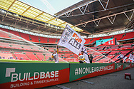 The FA flag bearers out on the pitch ahead of the FA Vase match between Stockton Town and Thatcham Town at Wembley Stadium, London, England on 20 May 2018. Picture by Stephen Wright.