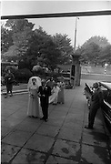 "16/09/1967<br /> 09/16/1967<br /> 16 September 1967<br /> Wedding of Mr Francis W. Moloney, 28 The Stiles Road, Clontarf and Ms Antoinette O'Carroll, ""Melrose"", Leinster Road, Rathmines at Our Lady of Refuge Church, Rathmines, with reception in Colamore Hotel, Coliemore Road, Dalkey. Image shows the bride arriving at the church before  the ceremony with her father Mr Dudley O'Carroll and sister Gladys McGloughlin."