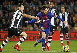 January 7, 2018 - Barcelona, Catalonia, Spain - Leo Messi and Postigo  during the Spanish league football match FC Barcelona vs Levante UD at the Camp Nou stadium in Barcelona on January 7, 2018. (Credit Image: © Joan Valls/NurPhoto via ZUMA Press)