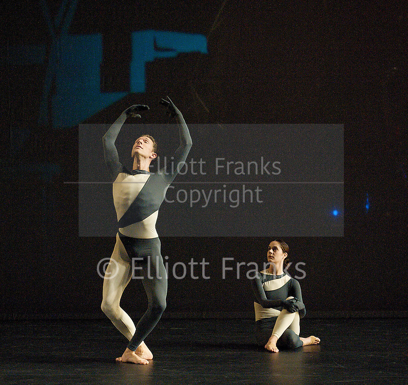 Nearly Ninety<br /> The Merce Cunningham Dance Company <br /> choreography by Merce Cunningham<br /> at The Barbican Theatre, London, Great Britain <br /> rehesrsal <br /> 26th October 2010 <br /> <br /> <br /> Daniel Madoff<br /> <br /> Jennifer Coggans<br /> <br /> <br /> Photograph by Elliott Franks<br /> 2010©Elliott Franks