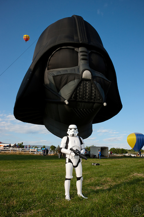 """""""Stormtrooper and Darth Vader Balloon 1"""" - This Star Wars stormtrooper and Darth Vader hot air balloon were photographed at the 2011 Great Reno Balloon Race in Reno, Nevada."""