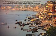 A view of the Ganga river, Varanasi, India.<br /> (Environment, water, travel, asia, boats, cities)<br /> Photo © Nic Bothma/iAfrika Photos