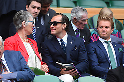 Actor Jude Law (USA) with his mother and formula one champion Nico Roseberg (GBR) during the men semi finals at the 2017 Wimbledon Championships at the AELTC in London, UK, on July 14, 2017. Photo by Corinne Dubreuil/ABACAPRESS.COM