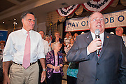 14 SEPTEMBER 2011 - SUN LAKES, AZ: Andy Tobin, right, Speaker of the Arizona House of Representatives introduces Mitt Romney at the Oakwood Clubhouse at Sun Lakes Wednesday. Romney was one of the first of the 2012 Republicans running for the GOP Presidential nomination to come to Arizona. He campaigned Wednesday in Tucson and Sun Lakes and attended a private event in Tempe.    PHOTO BY JACK KURTZ