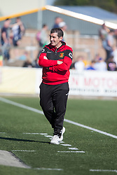 Annan Athletic's manager Jim Chapman after Anna's fourth goal. Forfar Athletic 2 v 4 Annan Athletic, Scottish Football League Division Two game played 6/5/2017 at Station Park.