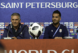 June 14, 2018 - SãO Petersburgo, Rússia - SÃO PETERSBURGO, MO - 14.06.2018: MOROCCAN PRESS CONFERENCE IN THE WORLD CUP - Russia, St. Petersburg, on June 14, 2018. 2018 FIFA World Cup Russia. Pre-game conference of Iran national team. In the picture: head coach of Iran national team Carlos Keyrush, player of Iran national team Masoud Shojaei. (Credit Image: © Andrey Pronin/Fotoarena via ZUMA Press)