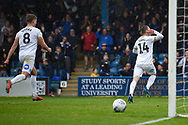 Peterborough United midfielder Callum Cooke (14) wheels away in celebration after scoring a goal (2-4) during the EFL Sky Bet League 1 match between Gillingham and Peterborough United at the MEMS Priestfield Stadium, Gillingham, England on 22 September 2018. Picture by Martin Cole