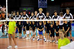 08-07-2010 VOLLEYBAL: WLV NEDERLAND - ZUID KOREA: EINDHOVEN<br /> Nederland verslaat Zuid Korea met 3-0 / Line up Nederland met oa. Rob Bontje, Nico Freriks, Yannick van Harskamp, Kay van Dijk en Jeroen Rauwerdink<br /> ©2010-WWW.FOTOHOOGENDOORN.NL