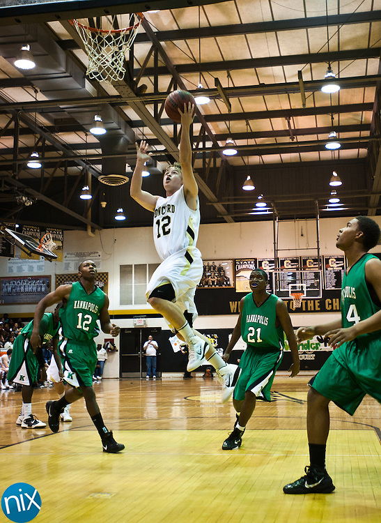 Concord's Patrick Jenkins goes up for a shot against Kannapolis Friday night at Concord High School. Concord won the game 77-51 to finish the season on top of the South Piedmont Conference. The SPC tournament starts next week. (Photo by James Nix)