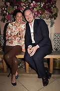 TESSA PACKARD,; FRED DALTON, spotted at Bloom & Wild's exclusive event at 5 Hertford Street last night. 5 September 2017. The event was announcing the new partnership between the UK's most loved florist, Bloom & Wild and British floral design icon Nikki Tibbles Wild at Heart. Cocooned in swaths of vibrant Autumn blooms, guests enjoyed floral-inspired cocktails from Sipsmith and bubbles from Chandon, with canapés put on by 5 Hertford Street. Three limited edition bouquets from the partnership can be bought through Bloom & Wild's website from the 1st September.  bloomandwild.com/WAH