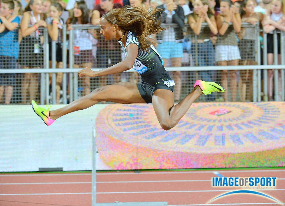 Dalilah Muhammad (USA) wins the women's 400m hurdles in 53.78 during the 2016 Athletissima in an IAAF Diamond League meeting at Stade Olympique de la Pontaise. Photo by Jiro Mochizuki