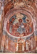 Pictures & images of Nikortsminda ( Nicortsminda ) St Nicholas Georgian Orthodox Cathedral rich interior frescoes of the altar apse, 16th century, Nikortsminda, Racha region of Georgia (country). A UNESCO World Heritage Tentative Site. .<br /> <br /> Visit our MEDIEVAL PHOTO COLLECTIONS for more   photos  to download or buy as prints https://funkystock.photoshelter.com/gallery-collection/Medieval-Middle-Ages-Historic-Places-Arcaeological-Sites-Pictures-Images-of/C0000B5ZA54_WD0s<br /> <br /> Visit our REPUBLIC of GEORGIA HISTORIC PLACES PHOTO COLLECTIONS for more photos to browse, download or buy as wall art prints https://funkystock.photoshelter.com/gallery-collection/Pictures-Images-of-Georgia-Country-Historic-Landmark-Places-Museum-Antiquities/C0000c1oD9eVkh9c