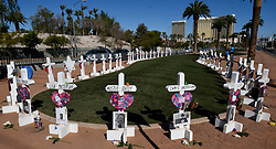 September 30, 2018 - Las Vegas, Nevada, U.S. - 58 white crosses honoring the 58 victims of last year's Route 91 Harvest Festival mass shooting are seen near the 'Welcome to Fabulous Las Vegas' sign. Monday marks the one-year anniversary since the massacre. (Credit Image: © Gene Blevins/ZUMA Wire)