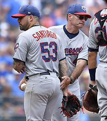July 2, 2017 - Kansas City, MO, USA - Minnesota Twins starting pitcher Hector Santiago is relieved by manager Paul Molitor in the fourth inning against the Kansas City Royals on Sunday, July 2, 2017 at Kauffman Stadium in Kansas City, Mo. (Credit Image: © John Sleezer/TNS via ZUMA Wire)