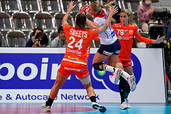 06-12-2019 JAP: Norway - Netherlands, Kumamoto<br /> Last match groep A at 24th IHF Women's Handball World Championship. / The Dutch handball players won in an exciting game of fear gegner Norway and wrote in the last group match at the World Handball  World Championship history (30-28). / Estavana Polman #79 of Netherlands, Stine Bredal Oftedal #10 of Norway