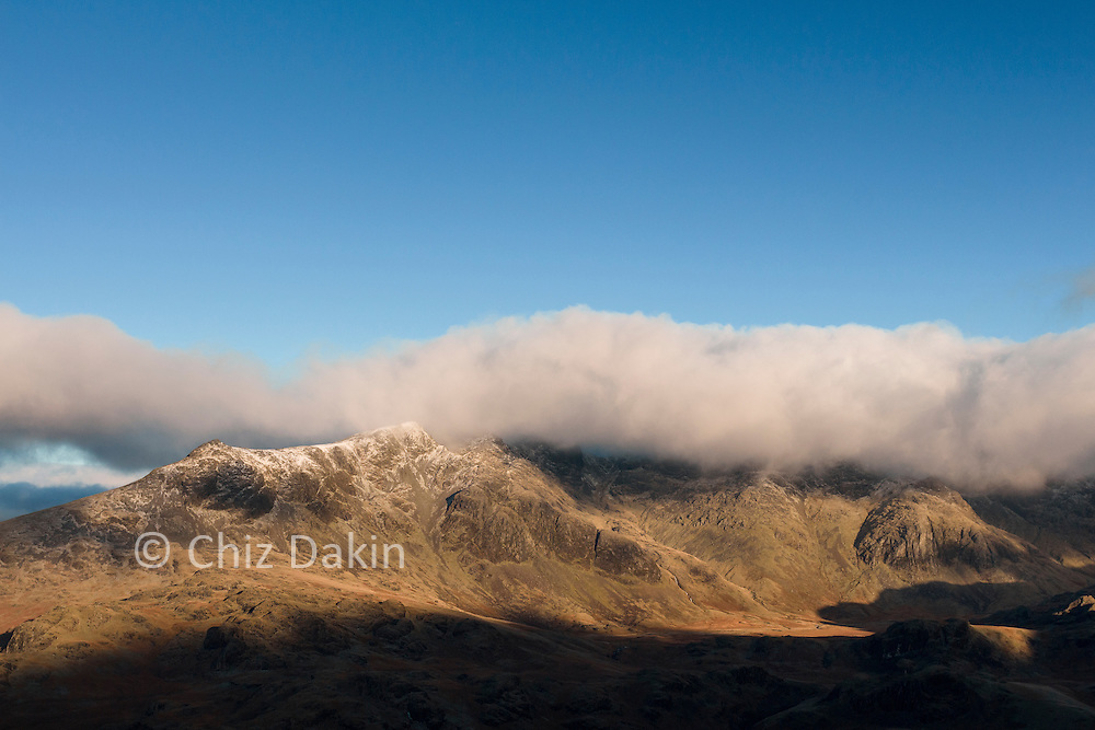 Early morning view towards Scafell Pike in winter