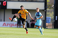Padraig Amond of Newport county in action.  EFL Skybet football league two match, Newport county v Wycombe Wanderers at Rodney Parade in Newport, South Wales on Saturday 9th September 2017.<br /> pic by Andrew Orchard, Andrew Orchard sports photography.