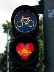 Traffic lights for cyclists painted to show red heart in Berlin 2009
