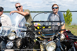 Steve Butts (L) and Joe Burch lined up for the panorama portrait in Aune Osborne Park in Sault Sainte Marie, the site of the official start of the Cross Country Chase motorcycle endurance run from Sault Sainte Marie, MI to Key West, FL. (for vintage bikes from 1930-1948). Thursday, September 5, 2019. Photography ©2019 Michael Lichter.