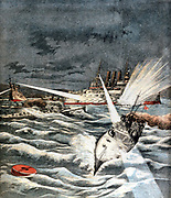 Russo-Japanese War 1904-1905: Opening of hostilities. Japanese torpedo boats making surprise attack on Port Arthur, 8 February 1904. From 'Le Petit Journal', Paris,  21 February 1904.