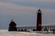 64795-03314 Grand Haven Lighthouse at sunset on Lake Michigan Grand Haven, MI