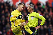 Manchester City Goalkeeper Joe Hart talks  with referee Martin Atkinson. Barclays Premier league match, Stoke city v Manchester city at the Britannia Stadium in Stoke on Trent, Staffs on Saturday 5th December 2015.<br /> pic by Chris Stading, Andrew Orchard sports photography.