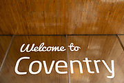 Welcome to Coventry sign outside the mainline railway station in the UK City of Culture 2021 on 23rd June 2021 in Coventry, United Kingdom. The UK City of Culture is a designation given to a city in the United Kingdom for a period of one year. The aim of the initiative, which is administered by the Department for Digital, Culture, Media and Sport. Coventry is a city which is under a large scale and current regeneration.