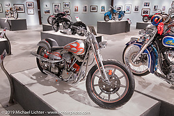 Donnie Smith's 1952 Pan lower / Shovel top Harley-Davidson custom in the More Mettle - Motorcycles and Art That Never Quit exhibition in the Buffalo Chip Events Center Gallery during the Sturgis Motorcycle Rally. SD, USA. Wednesday, August 11, 2021. Photography ©2021 Michael Lichter.