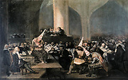 Francisco José de Goya y Lucientes, (30 March 1746 – 16 April 1828) was a Spanish romantic painter ' The Tribunal' The Inquisition Tribunal or The Inquisition Auto de fe, painted between 1812 and 1819. It shows an Auto de fe, or accusation of heretics, by the tribunal of the Spanish Inquisition