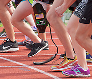 West Point, New York - Athletes, including one with a running blade, line up for the start of the 1,500-meter run in the 2014 Army Warrior Trials at the United States Military Academy Preparatory School on Tuesday, June 17, 2014.<br /> Hosted by the U.S. Army Warrior Transition Command (WTC), the trials determine which athletes will compete at the 2014 Warrior Games this fall in Colorado Springs, Colorado.