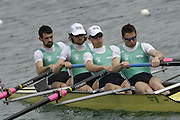 Munich, GERMANY, 2006, FISA, Rowing, World Cup, IRL LM 4- Bow Gearoid Towey, 2. Eugene Coakey, 3.Richard Archibald and Paul Griffin  . held on the Olympic Regatta Course, Munich, Thurs. 25.05.2006. © Peter Spurrier/Intersport-images.com,  / Mobile +44 [0] 7973 819 551 / email images@intersport-images.com..[Mandatory Credit, Peter Spurier/ Intersport Images] Rowing Course, Olympic Regatta Rowing Course, Munich, GERMANY