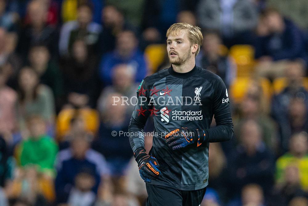 NORWICH, ENGLAND - Tuesday, September 21, 2021: Liverpool's goalkeeper Caoimhin Kelleher during the Football League Cup 3rd Round match between Norwich City FC and Liverpool FC at Carrow Road. Liverpool won 3-0. (Pic by David Rawcliffe/Propaganda)