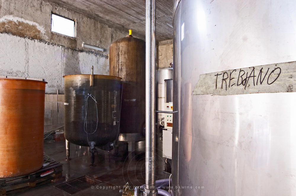 Stainless steel and epoxy fermentation and storage tanks. Marked with Trebbiano. Cobo winery, Poshnje, Berat. Albania, Balkan, Europe.