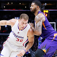08 December 2014: Los Angeles Clippers forward Blake Griffin (32) drives past Phoenix Suns forward Markieff Morris (11) during the Los Angeles Clippers 121-120 overtime victory over the Phoenix Suns, at the Staples Center, Los Angeles, California, USA.