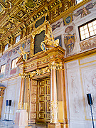 View of a doorway of the Golden Hall/Goldener Saal, of the Augsburg Town Hall, Rathaus, Augsburg, Bavaria, Germany